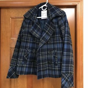 Fleece Navy Blue Plaid Peacoat